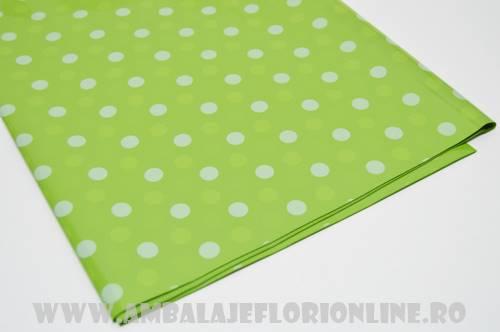 Celofan Color Verde cu Buline Albe