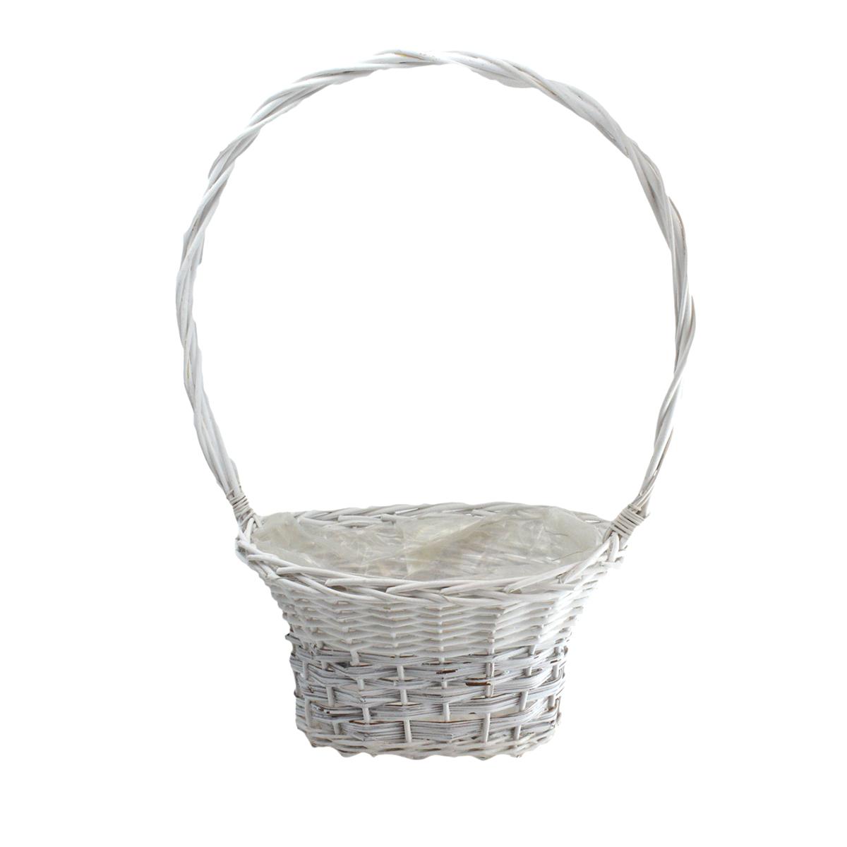 Cos tip vaza ovala alb