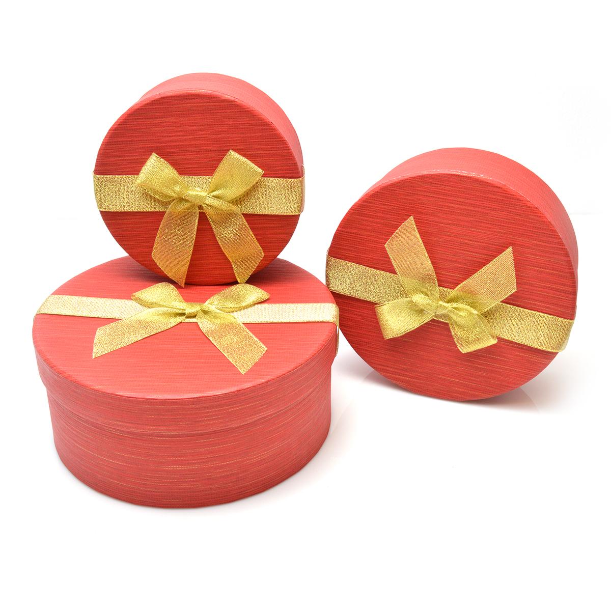 Set 3 cutii rotunde funda aurie rosu sidef