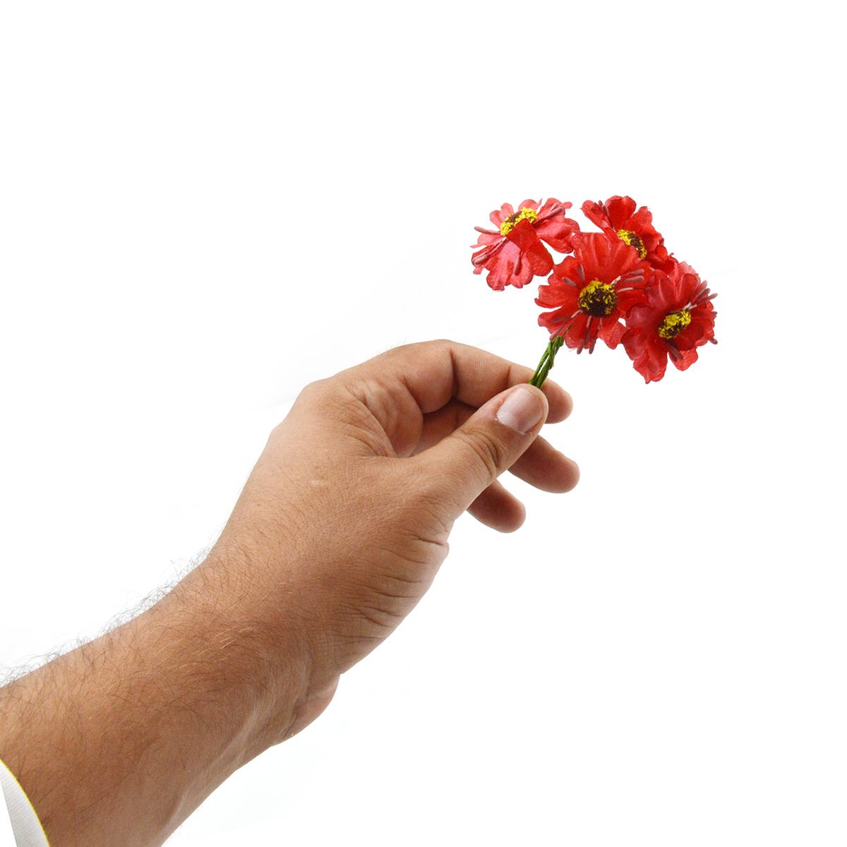 Set 144buc mini margarete cu pistil, rosu - ambalaje si accesorii florale