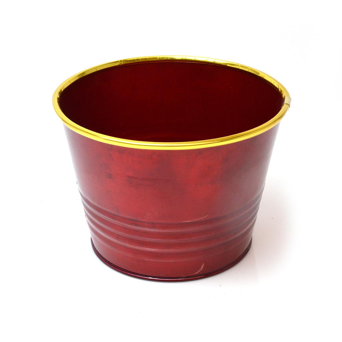 Ghiveci metalic rosu cu auriu 110s