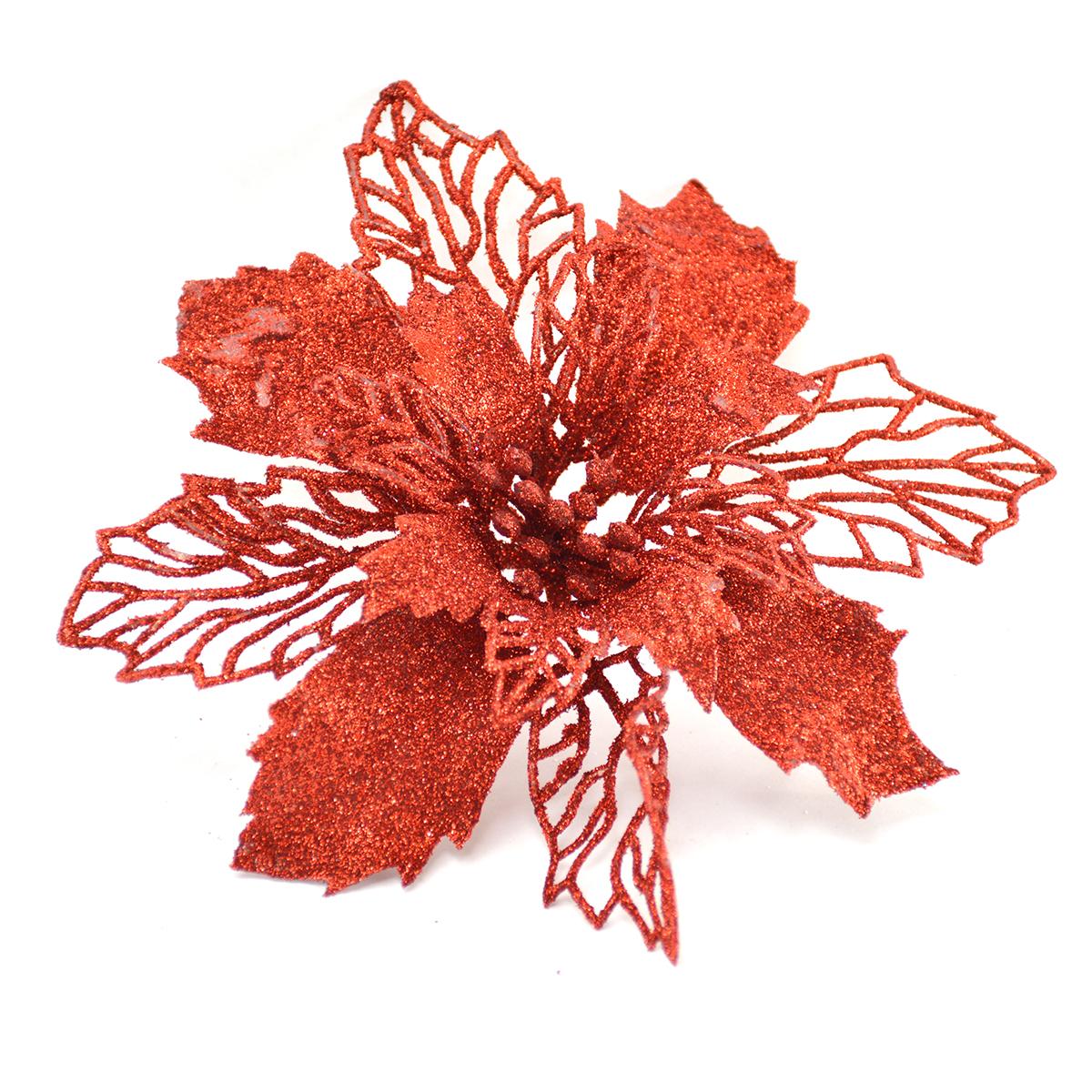Ornament Craciunita cu sclipici rosie 15cm plastic