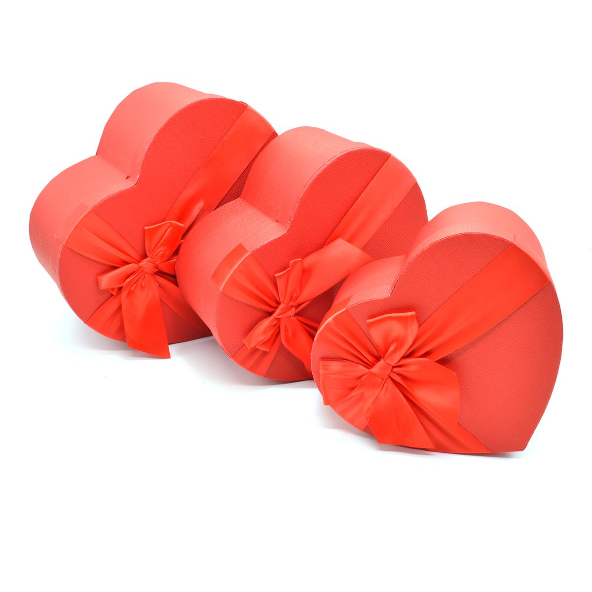 Set 3 cutii inima efect tapet medii rosu
