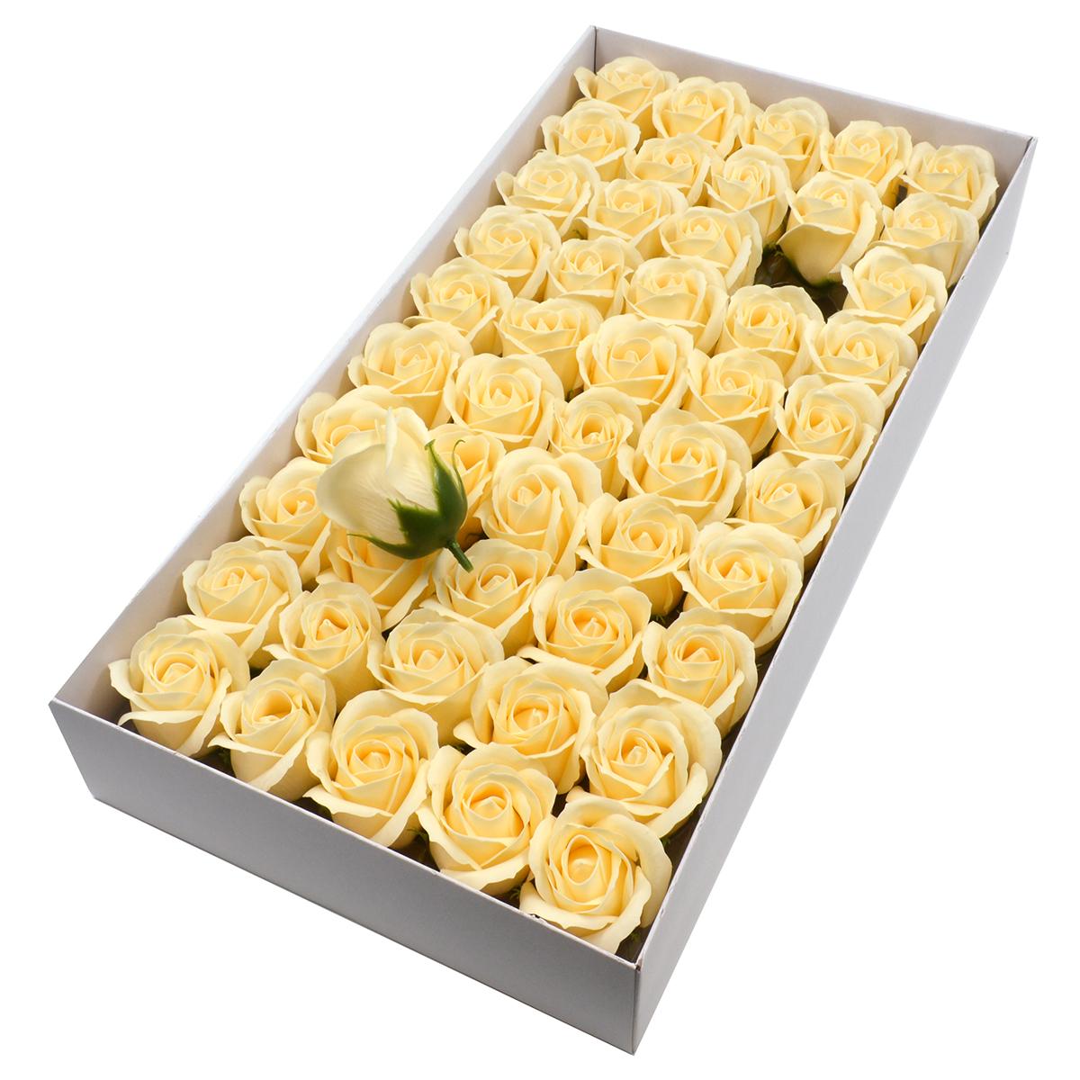 Set 50 trandafiri sapun parfumati, atingere reala, crem