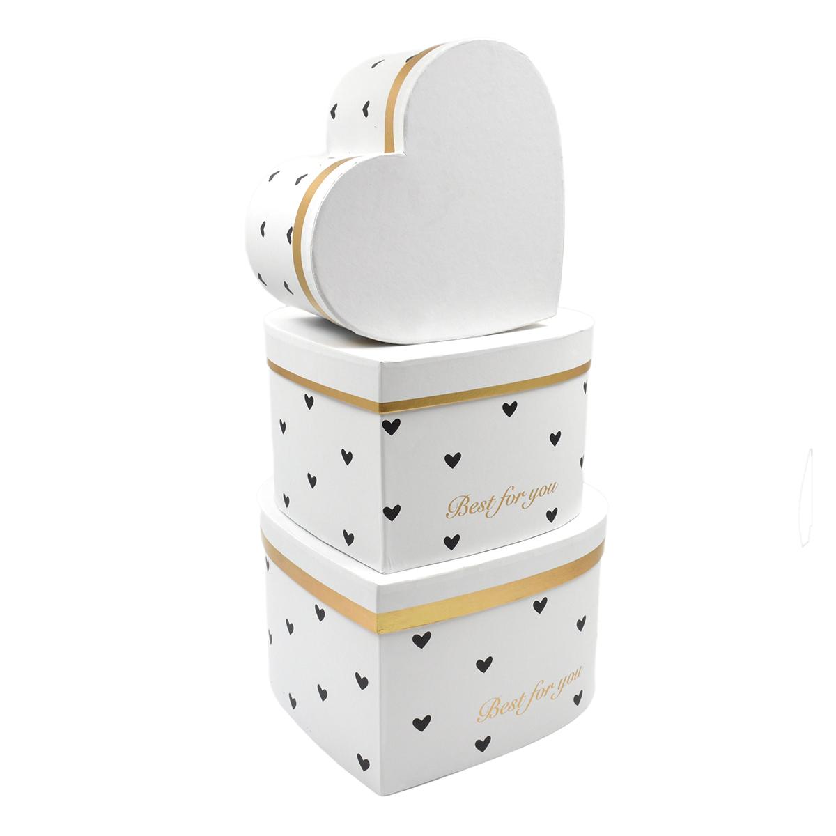 Set 3 cutii inima inalte albe cu inimioare negre