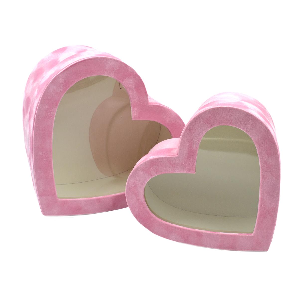 Set 2 cutii catifea cu capac transparent roz