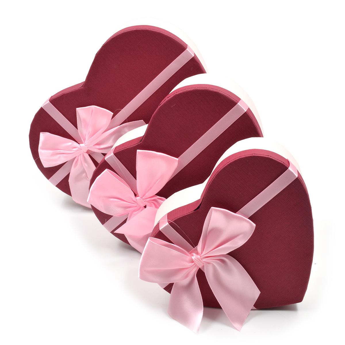 Set 3 cutii inima funda mare roz cu grena
