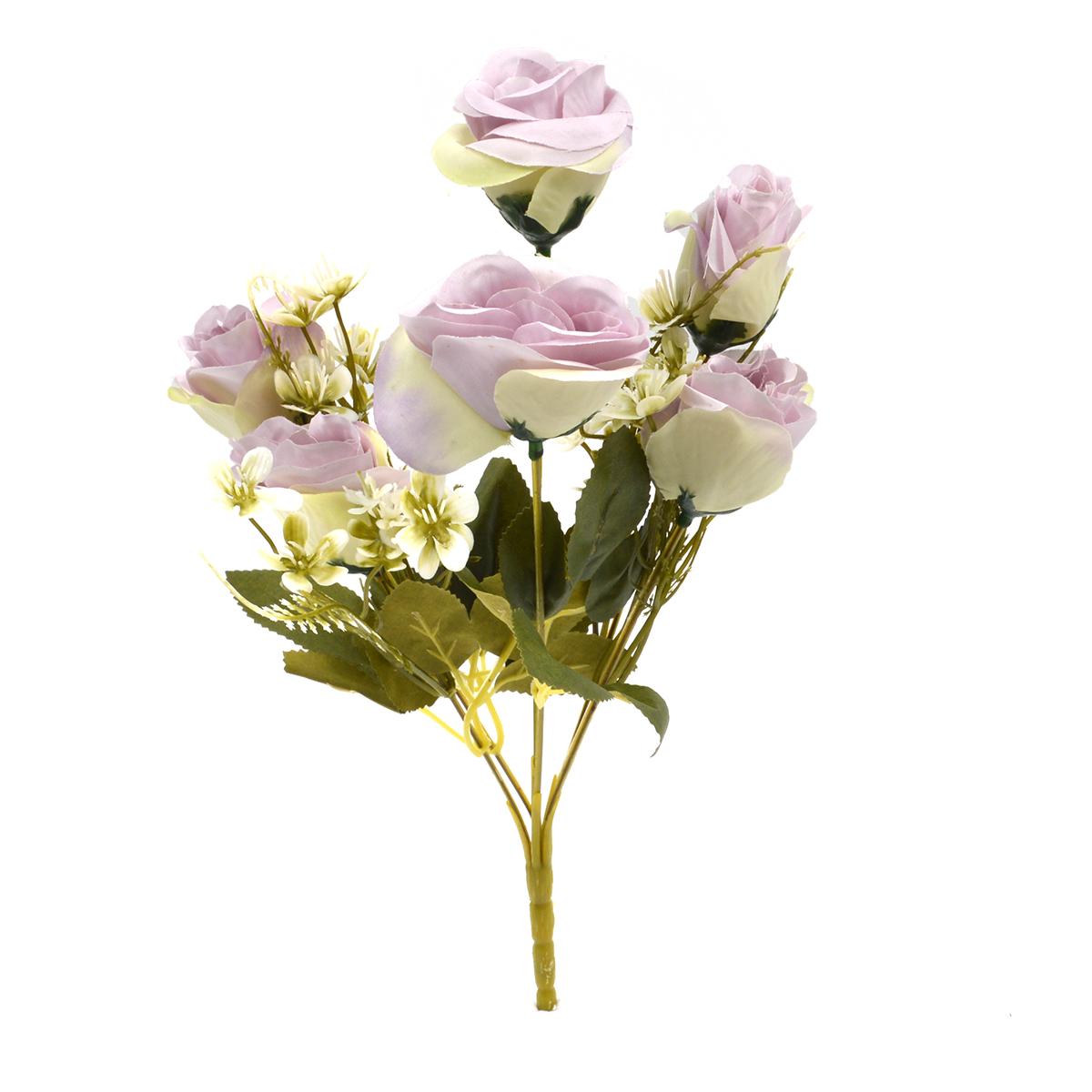 Flori Buchet 6 Trandafiri Madame crem cu liliac