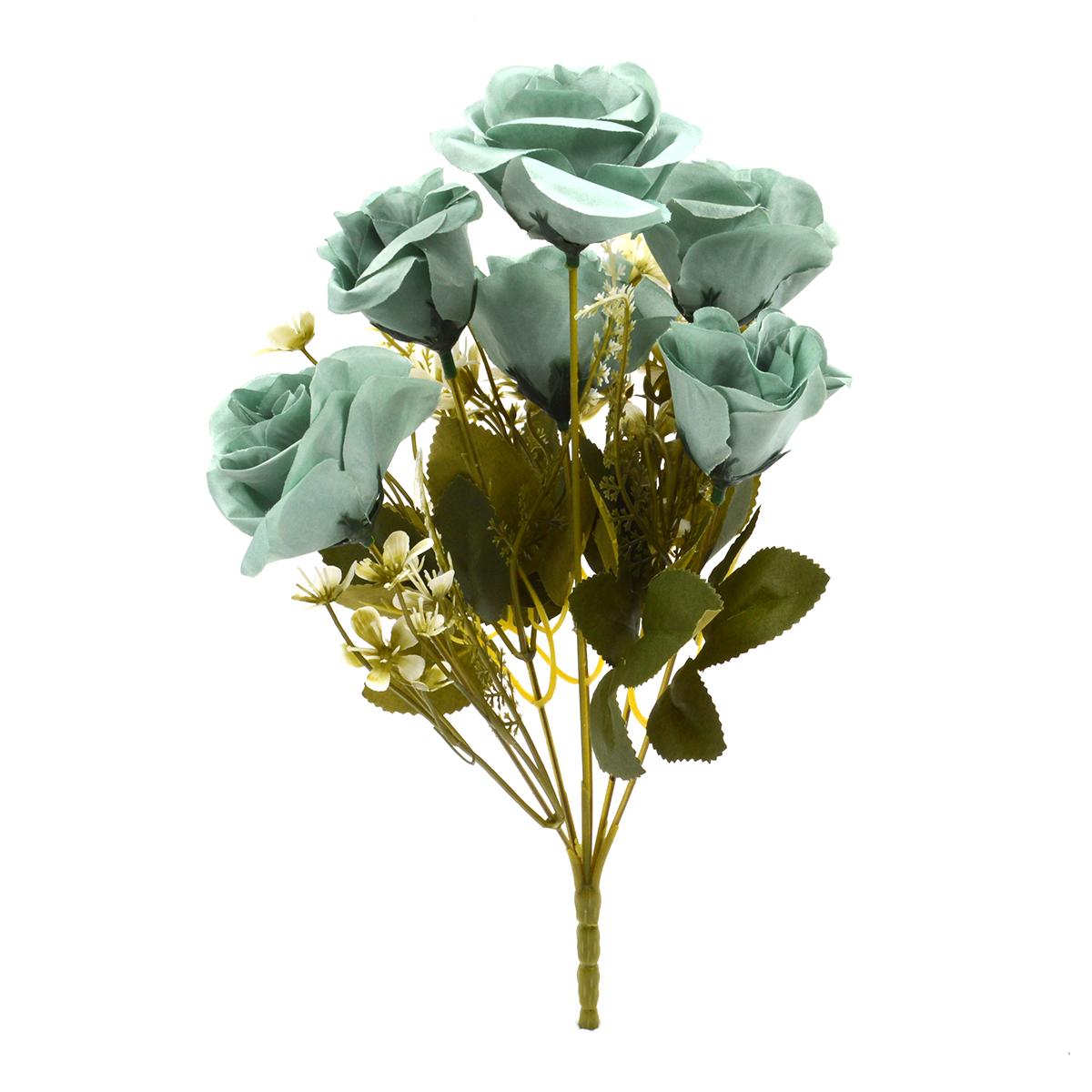 Flori Buchet 6 Trandafiri Madame turquoise inchis