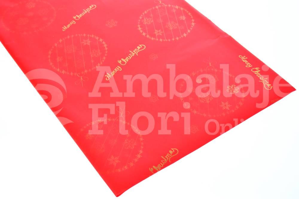 Ambalaje Flori ONLINE vinde Celofan Color Merry Christmas Rosu la pretul de 9.9 lei