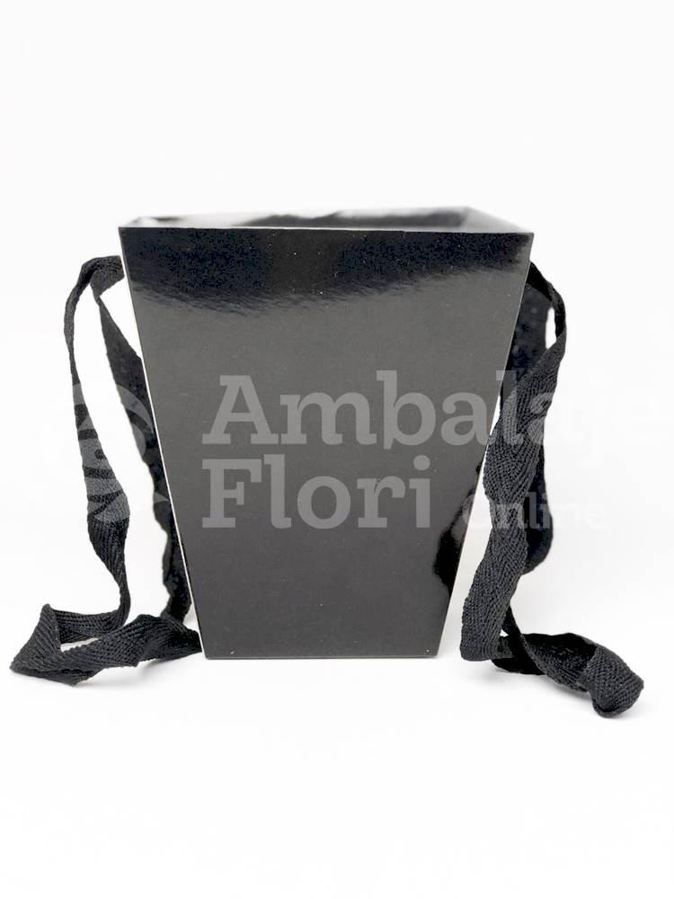 Ambalaje Flori ONLINE vinde Cutie Carton Tip Sacosa Mica Neagra la pretul de 2.5 lei
