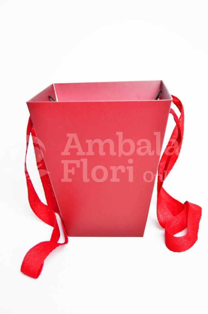 Ambalaje Flori ONLINE vinde Cutie Carton Tip Sacosa Mica Rosie la pretul de 3.5 lei