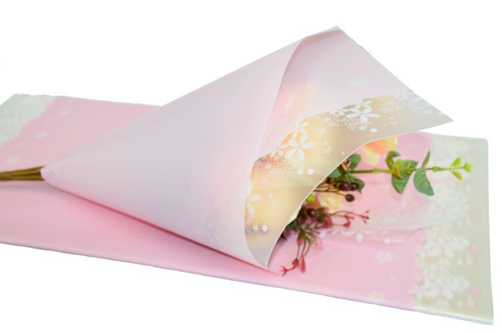 Ambalaje Flori ONLINE vinde Celofan Mat cu Dantela Roz Pal la pretul de 14.9 lei