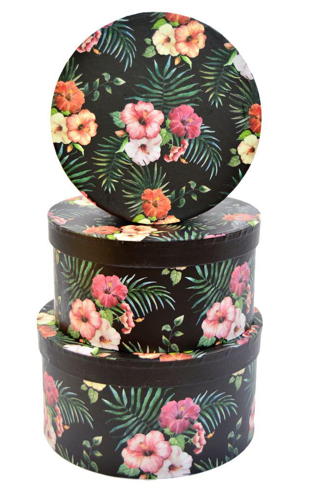 Cutie Rotunda Set 3 Hibiscus Neagra