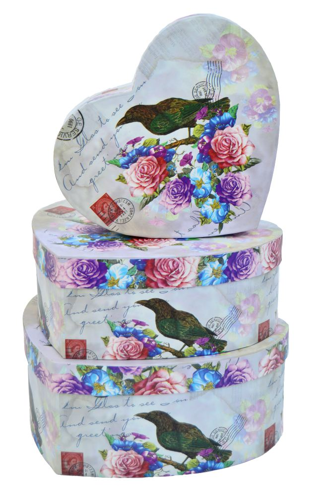 Ambalaje Flori ONLINE vinde Cutii Inima Set 3 Bird la pretul de 25.9 lei