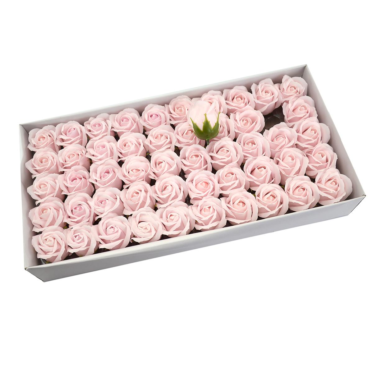 Set 50 trandafiri sapun parfumati, atingere reala, roz pal