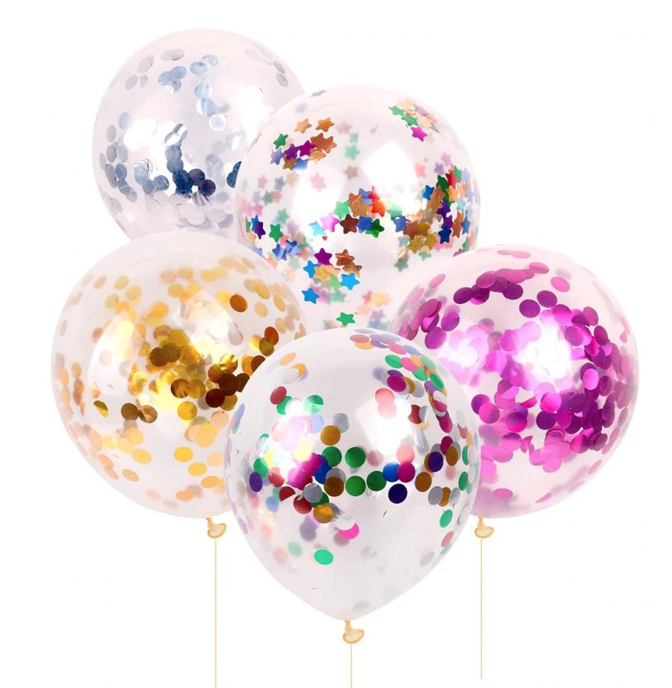 Set 5 baloane confetii latex mixte