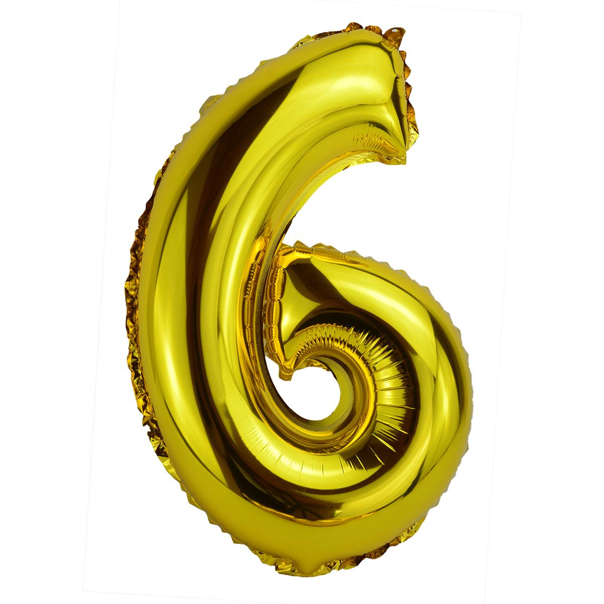 Balon Folie 35cm Cifra 6 - Auriu