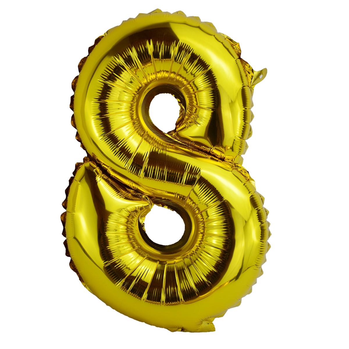 Balon Folie 35cm Cifra 8 - Auriu