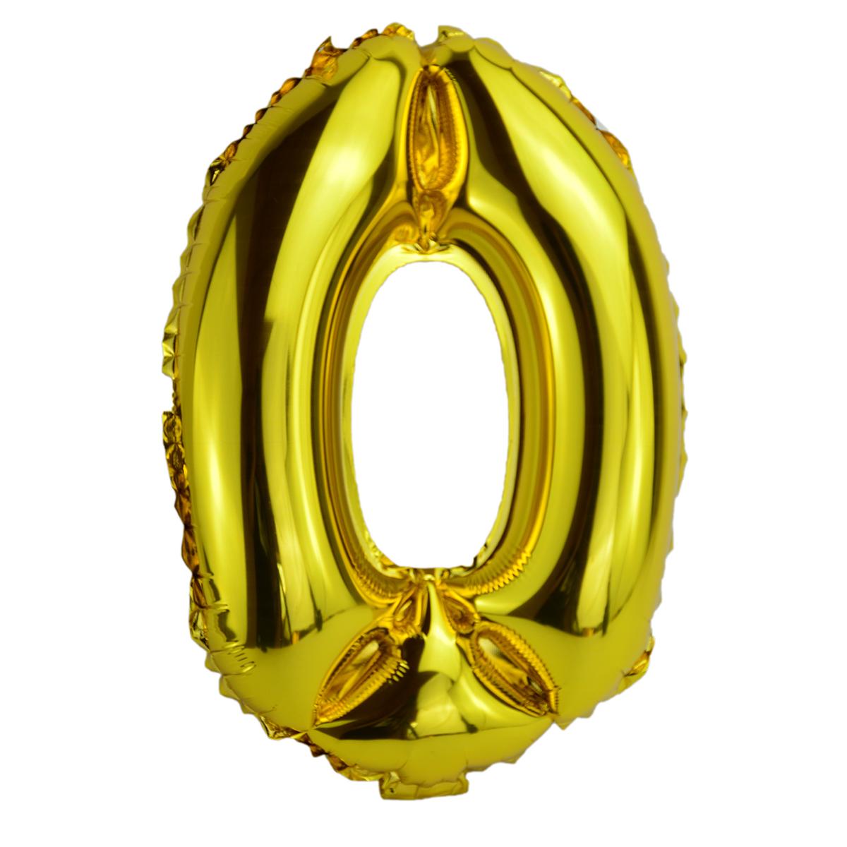 Balon Folie 35cm Cifra 0 - Auriu