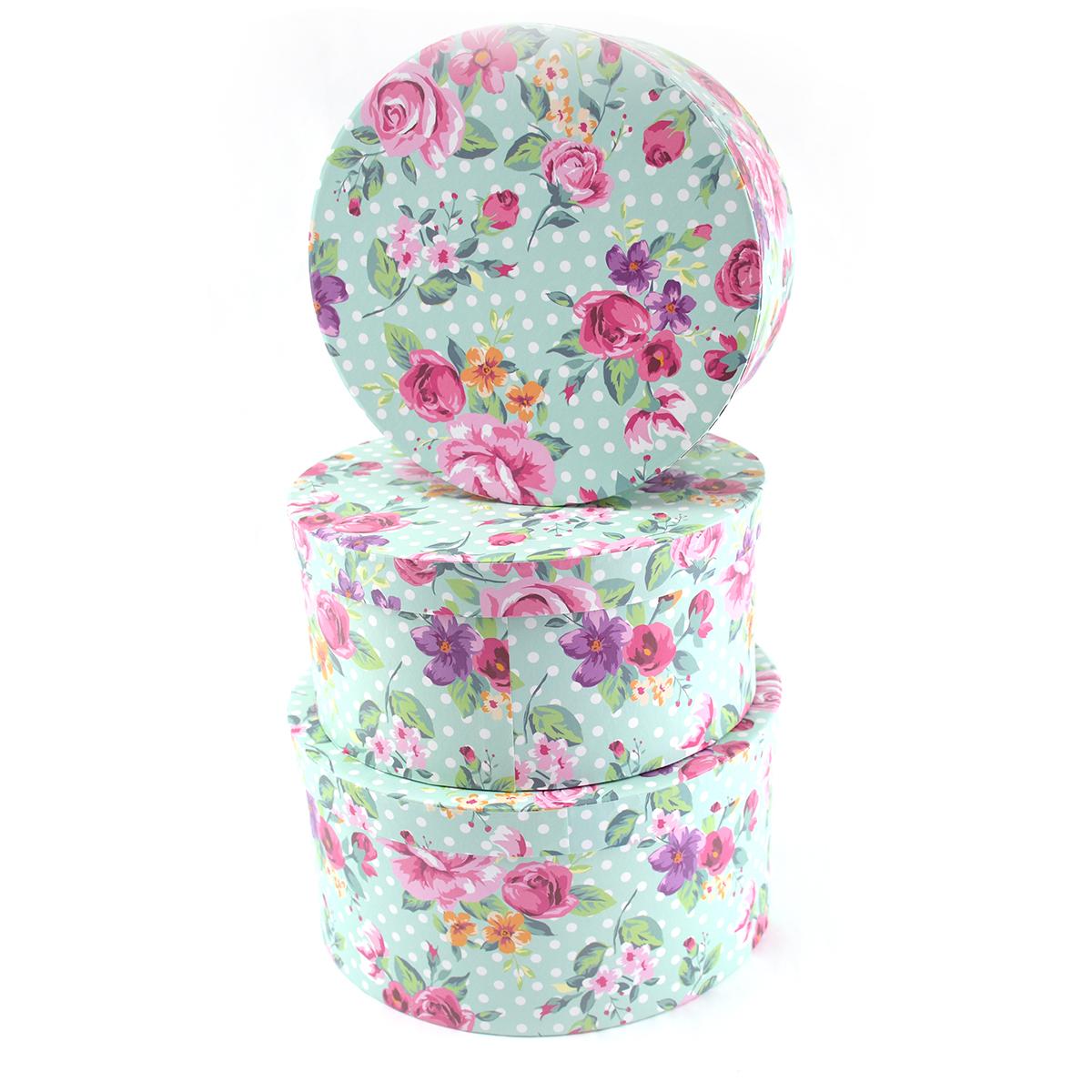 Ambalaje Flori ONLINE vinde Cutie Rotunda Set 3 Bujori Mint la pretul de 27.9 lei