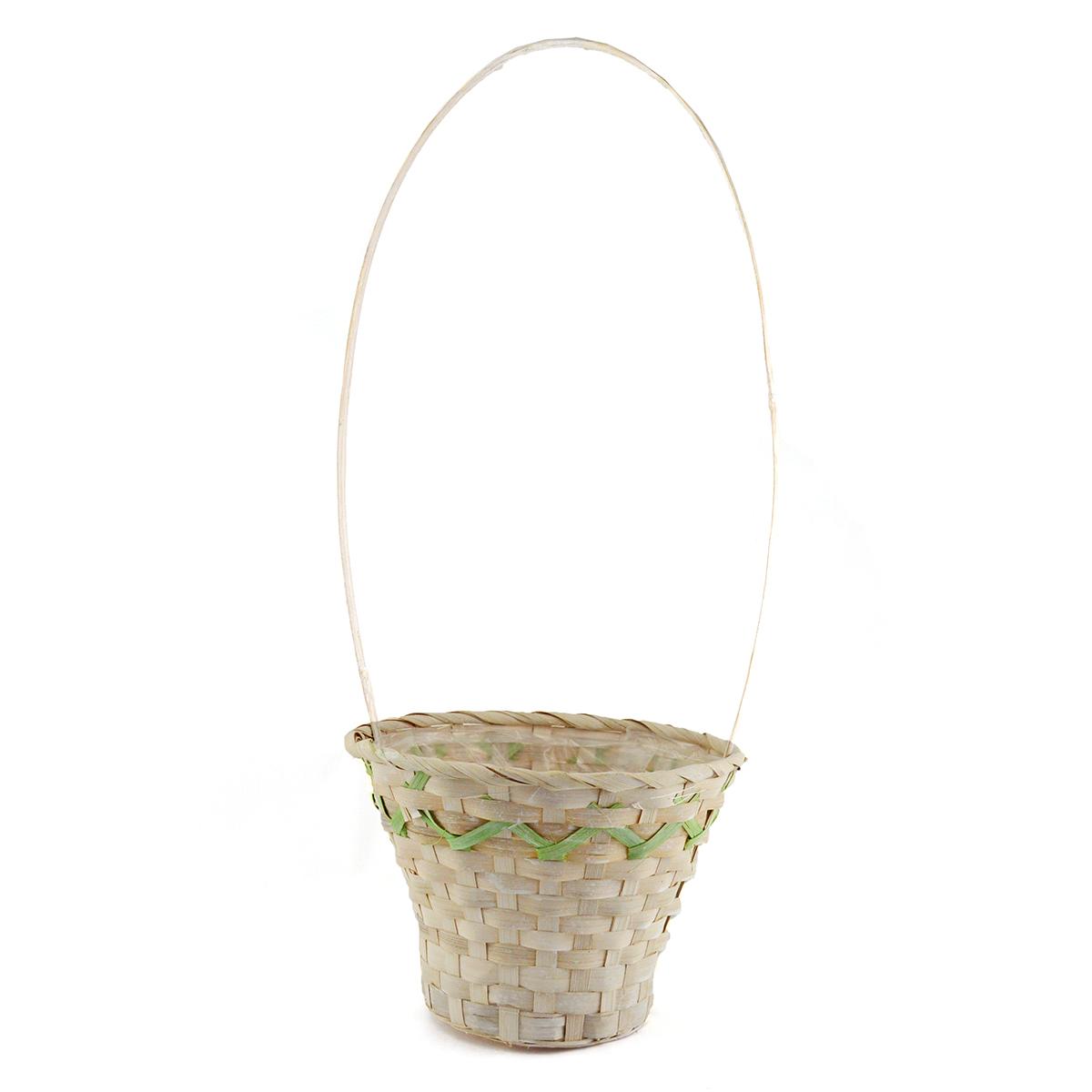 Cos impletit bambus inalt model natur-verde
