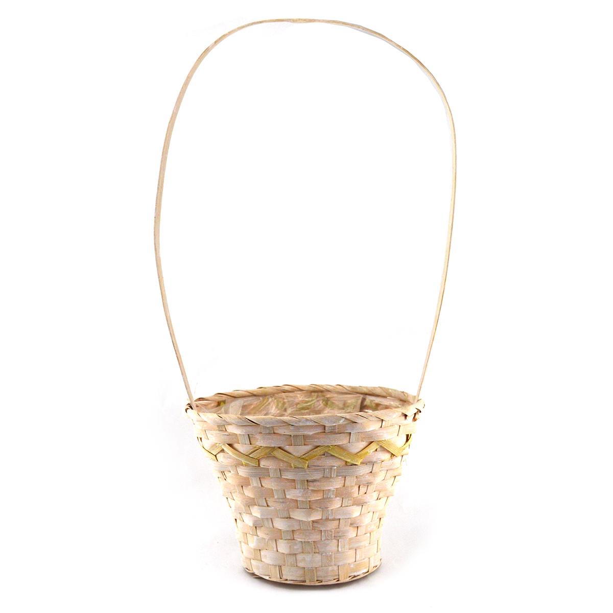 Ambalaje Flori ONLINE vinde Cos impletit bambus inalt model natur-galben la pretul de 9.9 lei