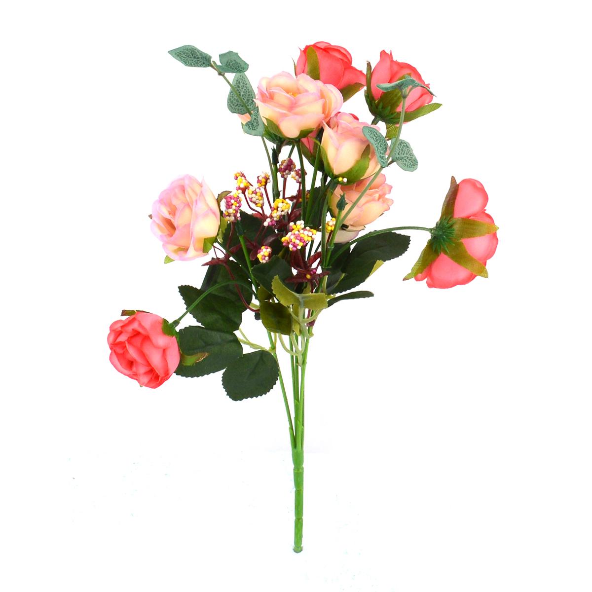 Mini Buchet 10 Trandafiri Corai cu Liliac