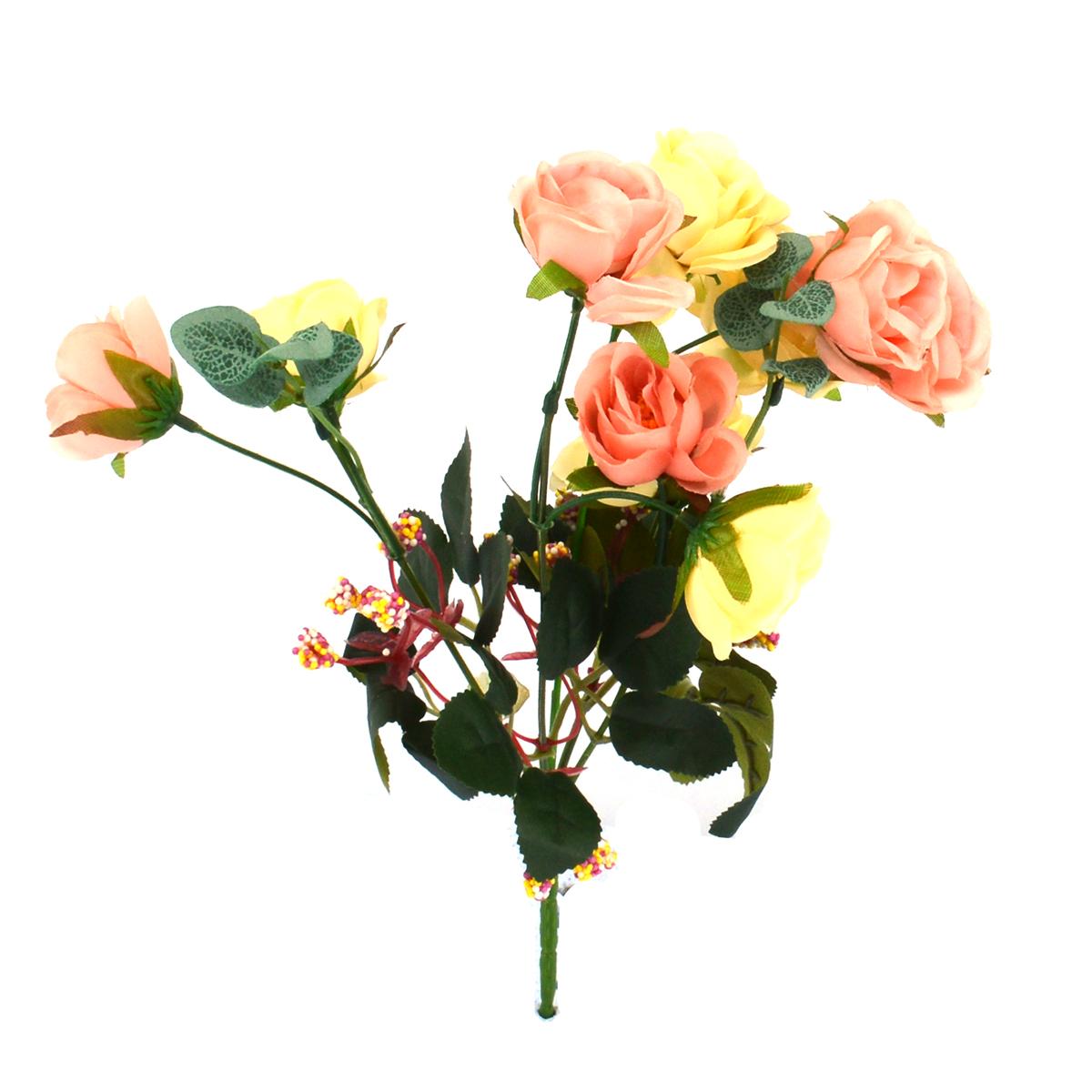 Mini Buchet 10 Trandafiri Crem cu Roz Pal