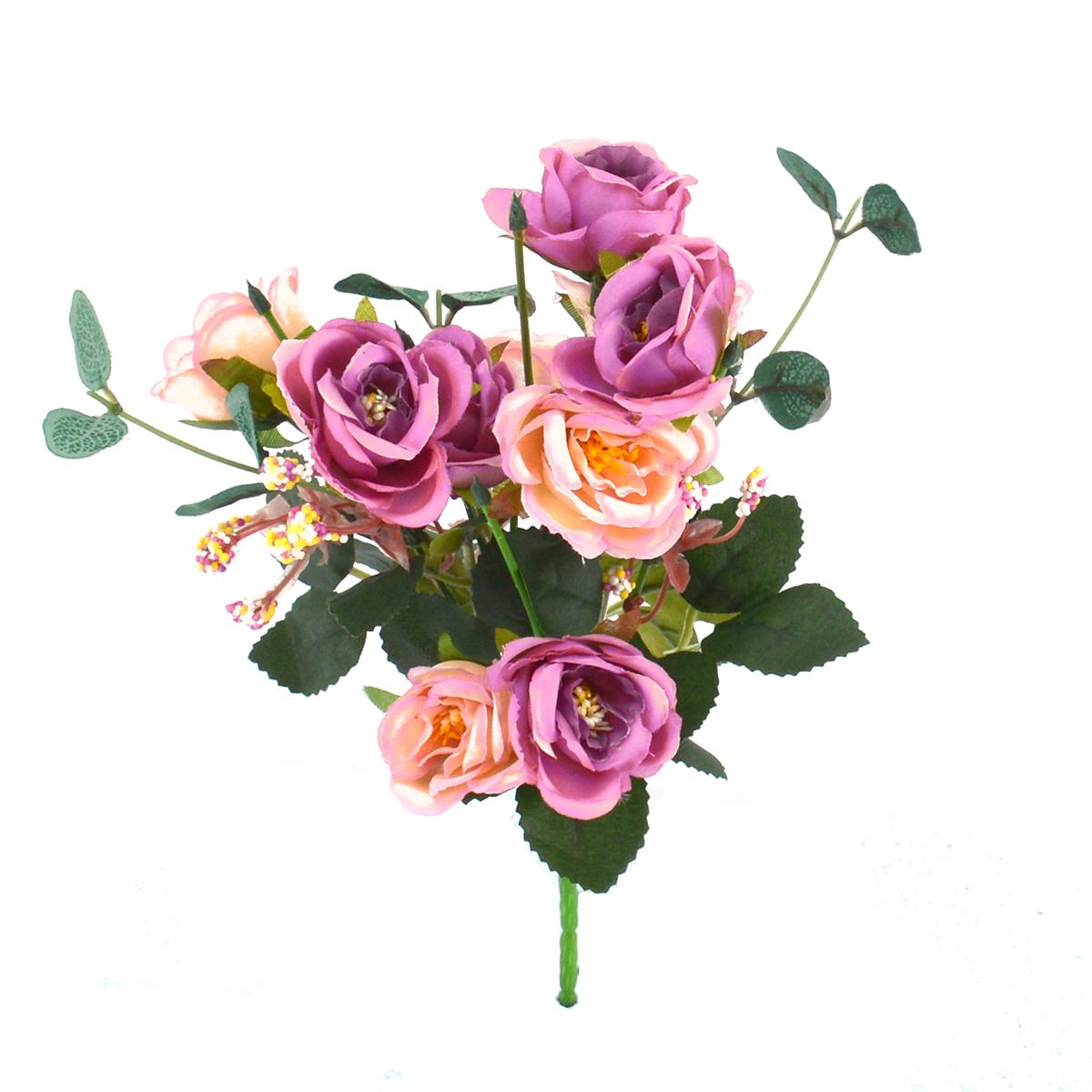 Mini Buchet 10 Trandafiri Liliac cu Roze