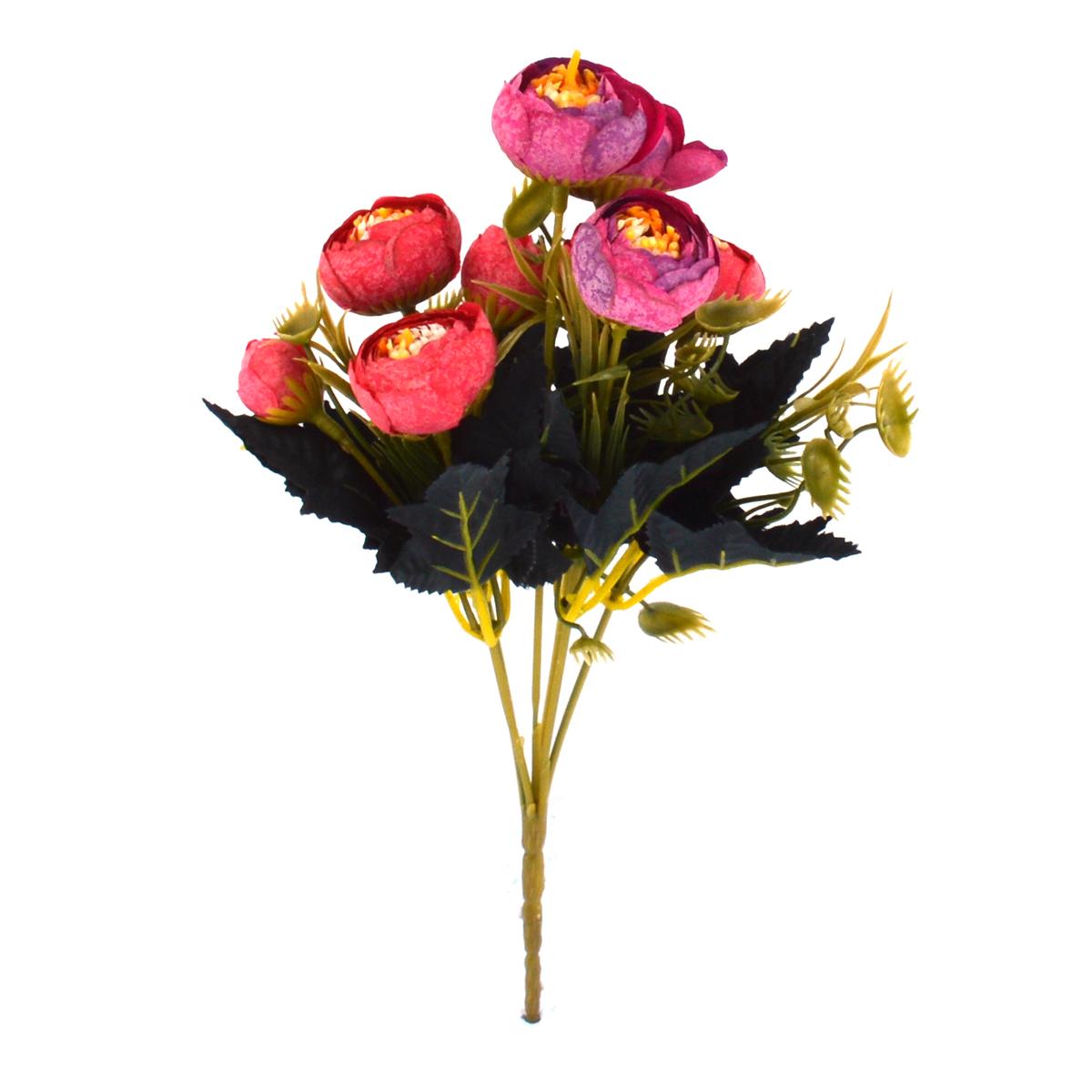 Ambalaje Flori ONLINE vinde Mini Buchet Ranunculus Vintage Rosu cu Siclam la pretul de 7.9 lei