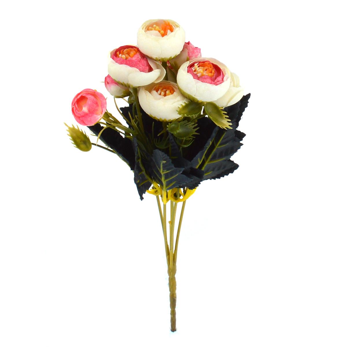 Mini Buchet Ranunculus Vintage Roz cu Alb