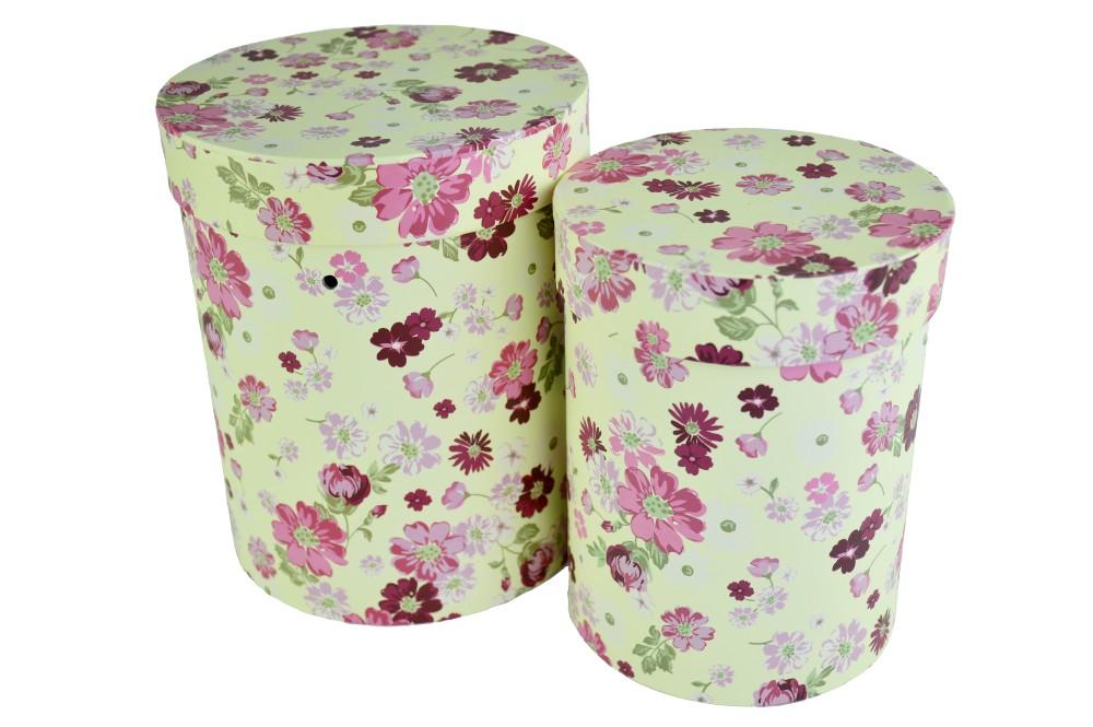 Cutii Set 2 Cilindru Crem cu Floricele