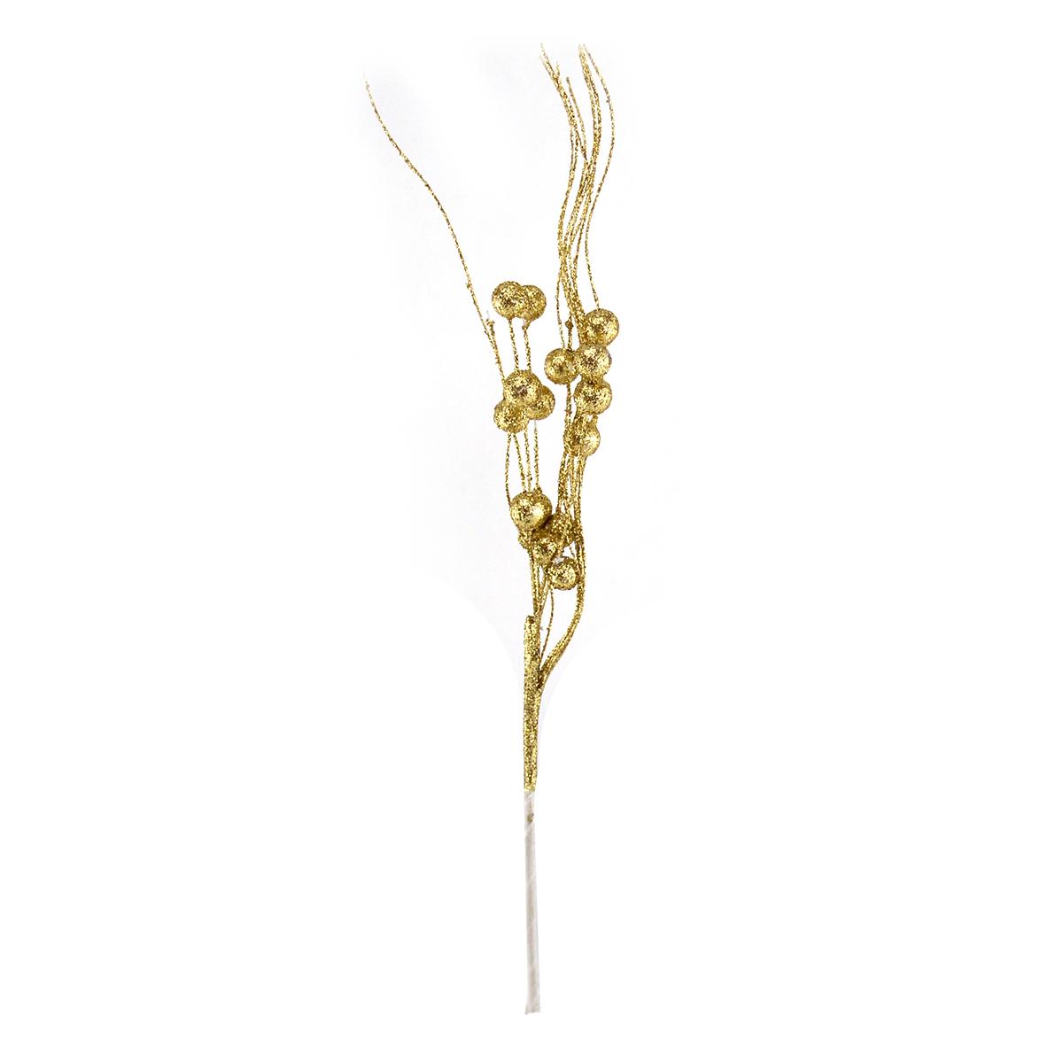 Crenguta curly bobite cu sclipici auriu - ambalaje si accesorii florale