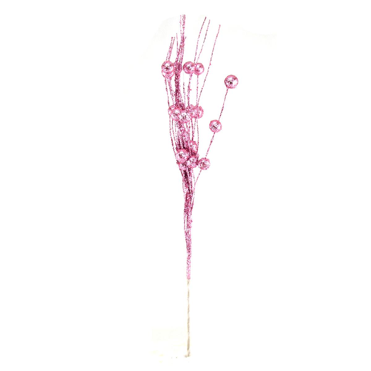 Crenguta curly bobite cu sclipici roz - ambalaje si accesorii florale