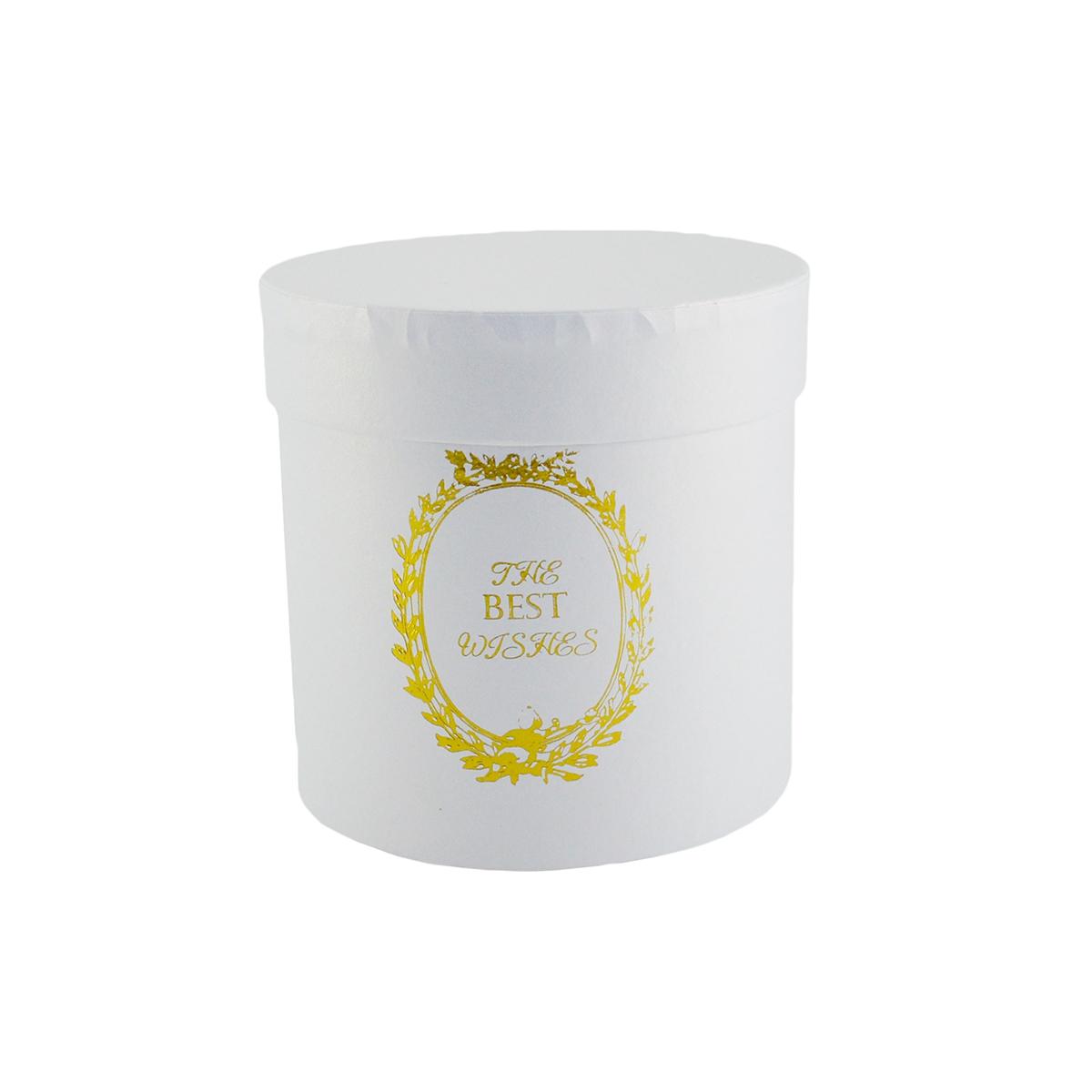 Ambalaje Flori ONLINE vinde Cutie cilindrica fara manere best wishes alb la pretul de 8.9 lei