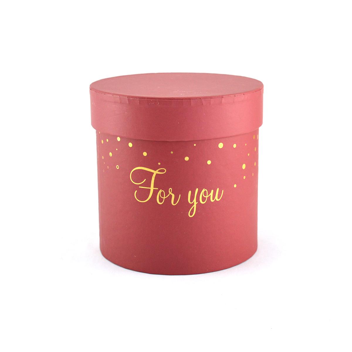 Ambalaje Flori ONLINE vinde Cutie cilindrica fara manere for you rosu inchis la pretul de 8.9 lei