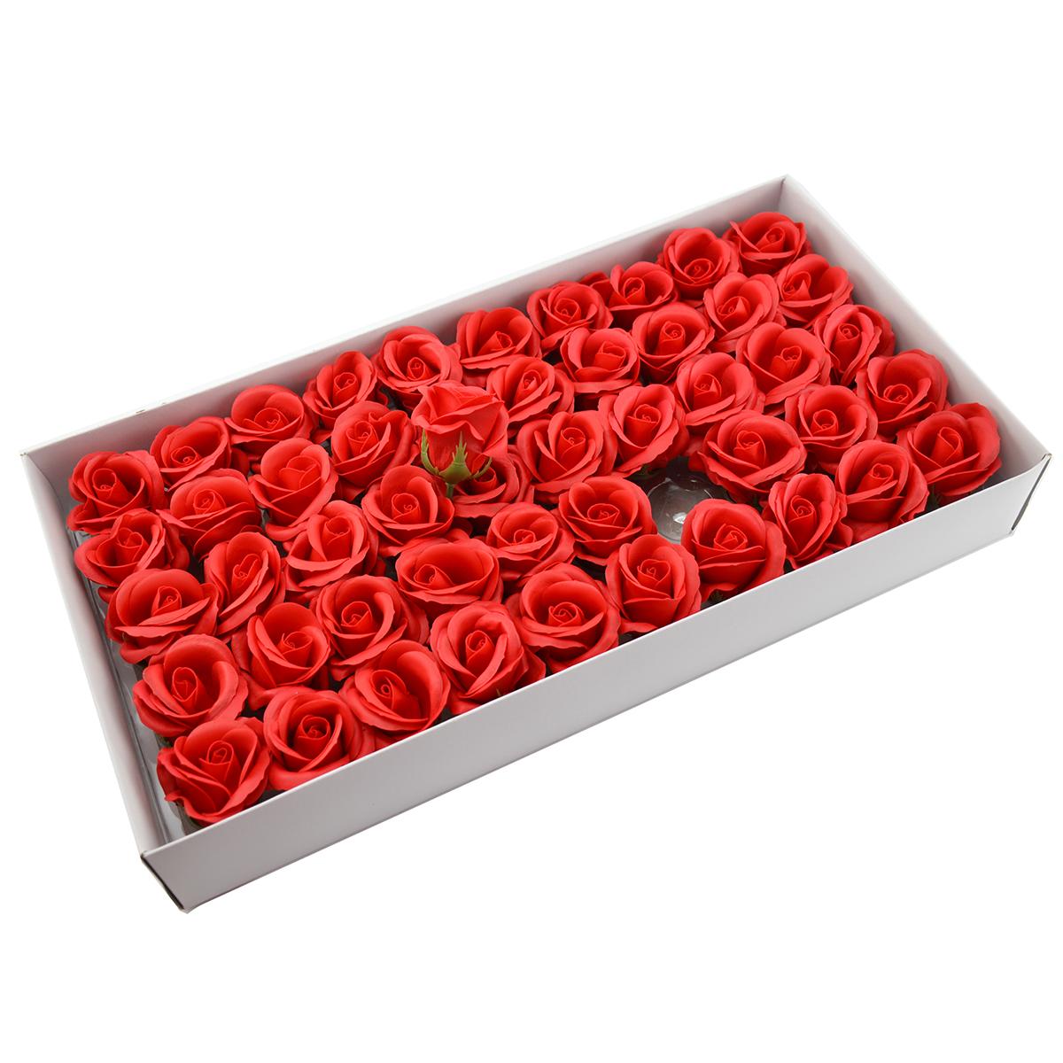 Set 50 trandafiri sapun parfumati, atingere reala, rosu