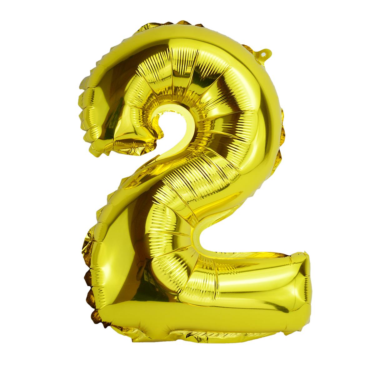 Balon Folie 80cm Cifra 2 - Auriu