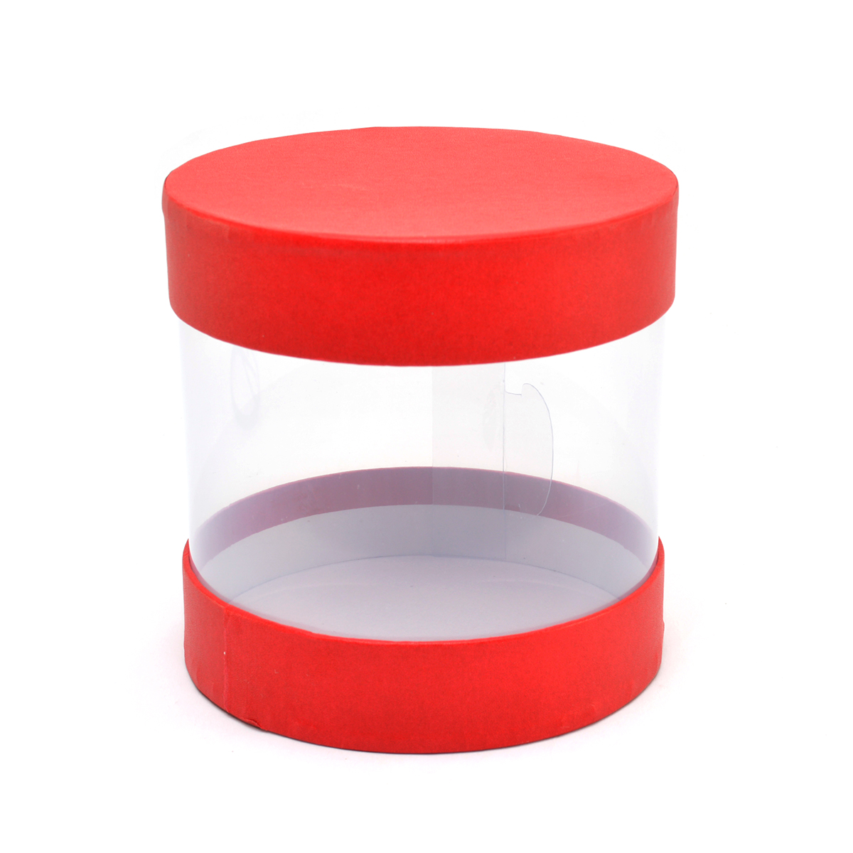 Mini cutie cilindrica transparent rosu cod 21-7