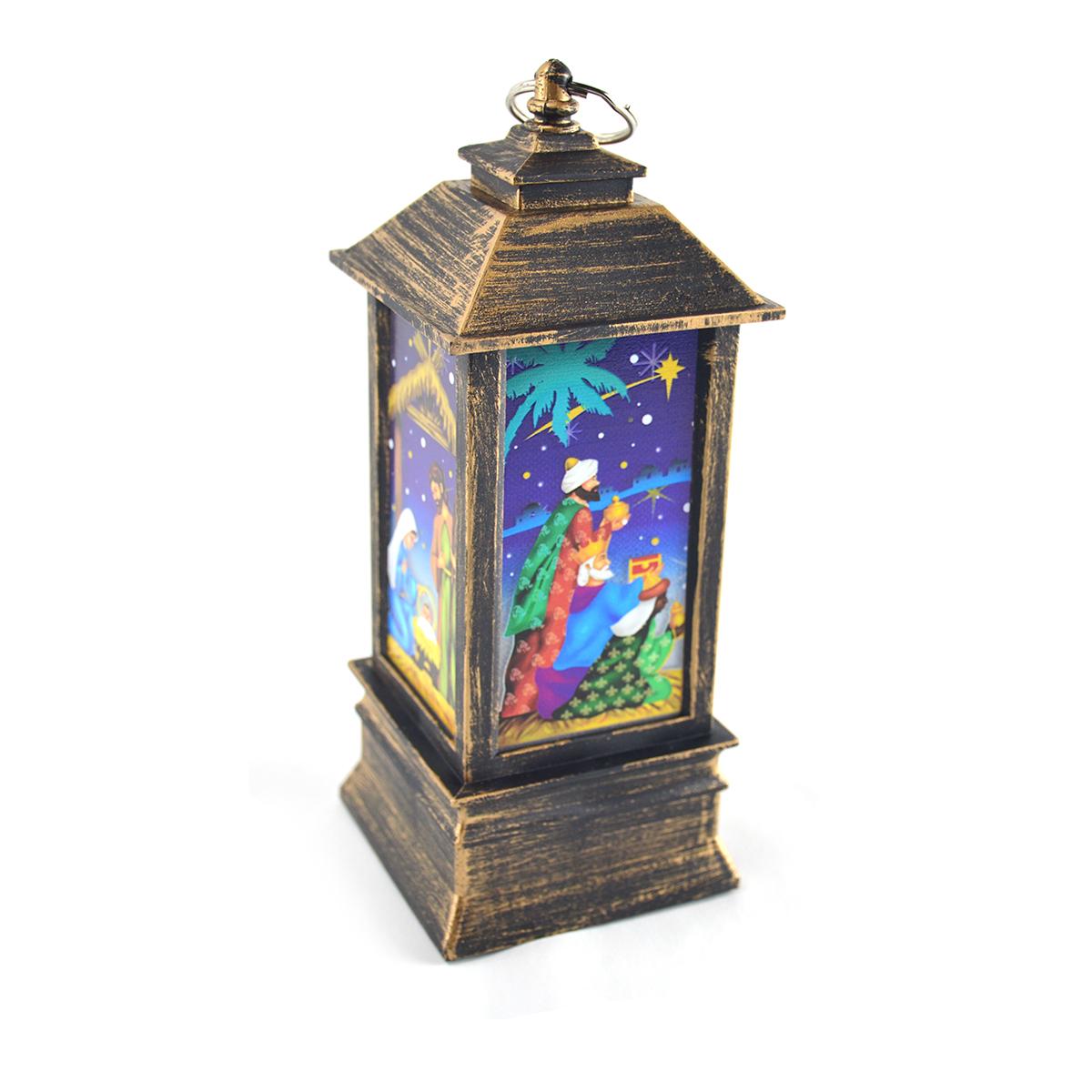 Felinar led decor vintage cu decoratiuni Craciun model 2 - ambalaje si accesorii florale