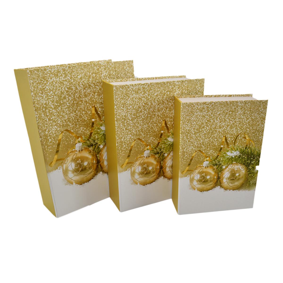 Set 3 cutii tip carte Globuri Gold - ambalaje si accesorii florale