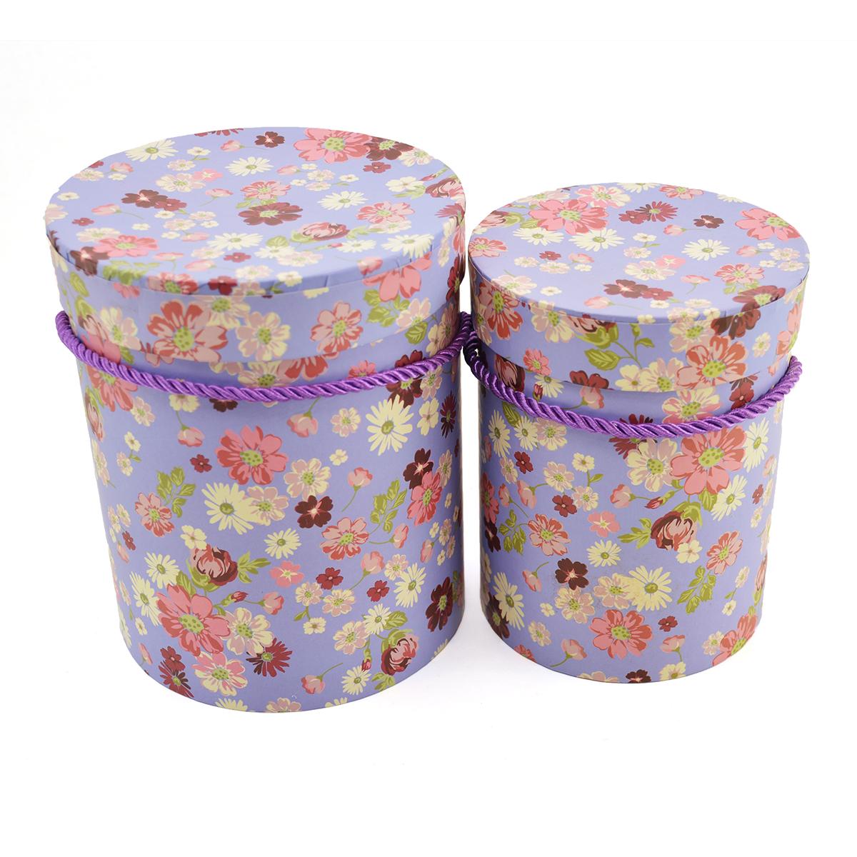 Cutii Set 2 Cilindru Mov cu Floricele - ambalaje si accesorii florale