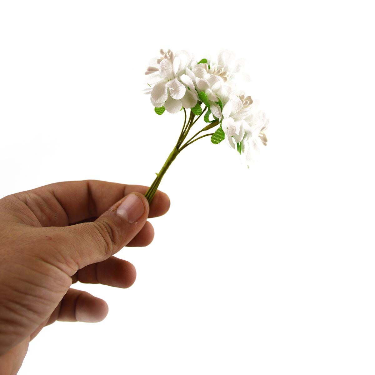 Set 144buc mini crizanteme cu pistil, alb