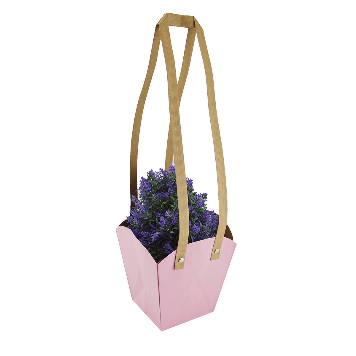 Set 10 buc Sacosa hartie mijlocie roz