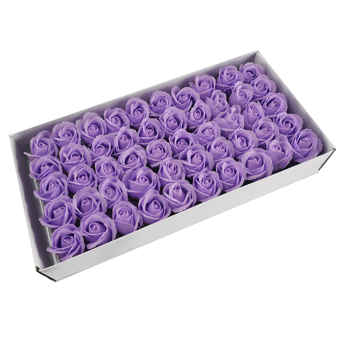 Set 50 trandafiri sapun parfumati, atingere reala, lila deschis