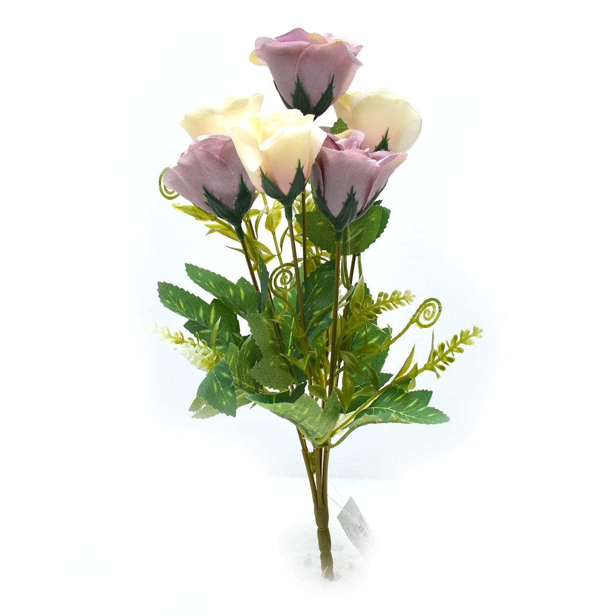 Buchet 7 trandafiri wild alb cu mov