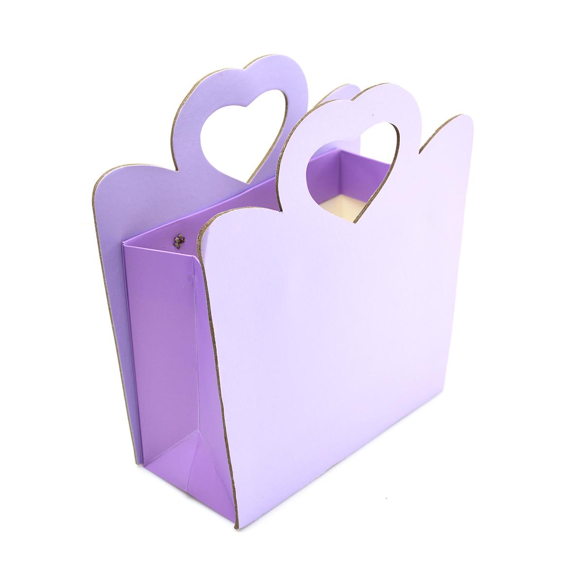 Cutie din carton pliabila maner inima laterale dure, lila