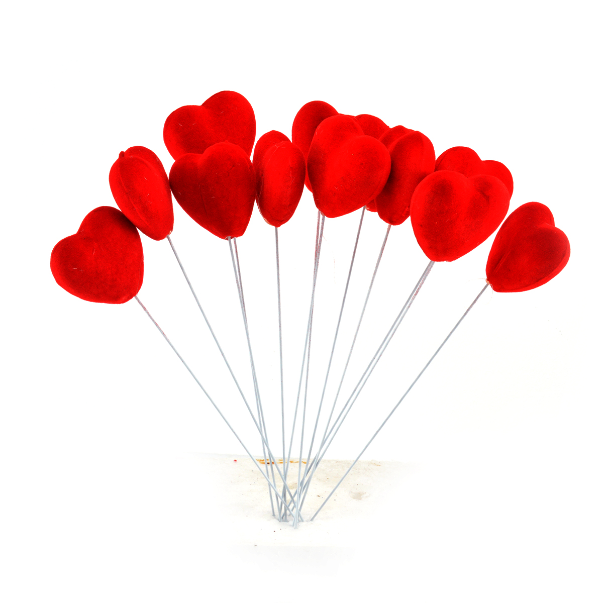 Set 12 inimioare catifelate pe sarma medii