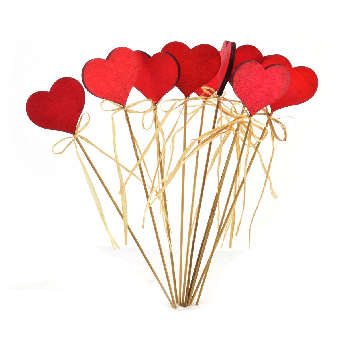 Set 10 inimioare decor din lemn